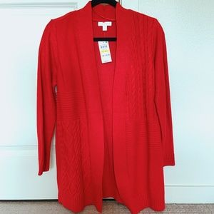 Petite Red Patchwork Textured Cardigan